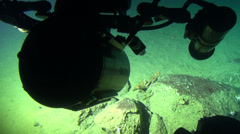 Deep Sea life, view from a researcher submarine in 300 m depth - underwater shot Stock Footage