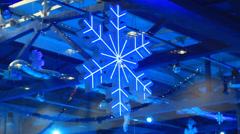 Winter background with Christmas snowflake decoration Stock Footage