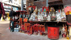 Stock Video Footage of Hong Kong Yau Ma Tei Temple Complex goddess figure Kuan Yin were placed at
