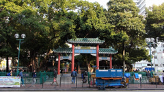 Hong Kong Yau Ma Tei Temple Complex and Park China Asia Stock Footage