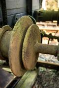 vintage old railway buffer joint connection coupling - stock photo