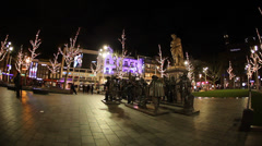 Rembrandt square in Amsterdam Holland Stock Footage