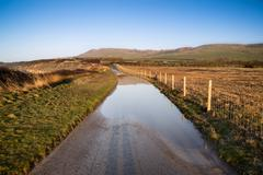 Landscape image of flooded country lane in farm Stock Photos
