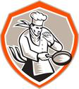 Stock Illustration of chef cook holding frying pan retro