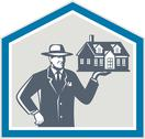 Stock Illustration of real estate salesman sell house retro