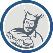 Baker hold bread loaf retro circle Stock Illustration
