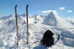 ski touring equipment - stock photo