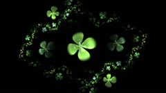 Four leafed clover on black,  animation Stock Footage