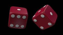 Red Casino Dice Black Background Stock Footage