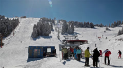 Ski Lift Station And Ski Run Stock Footage