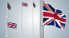 UK flags pack  5 styles in 1 - stock illustration