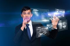 Thinking businessman touching interface Stock Illustration