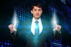 Serious businessman touching lights Stock Illustration