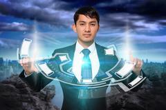 Serious businessman touching interface Stock Illustration