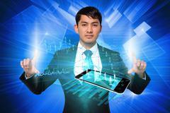 Serious businessman touching data interface Stock Illustration