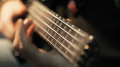 Bass player playing electric bass Stock Footage