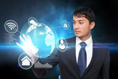 Asian businessman touching global interface Stock Illustration
