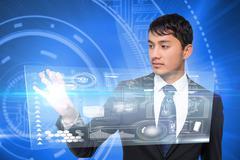 Asian businessman touching interface Stock Illustration