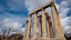 4K Olympeion timelapse Ancient Temple of Olympian Zeus Pillars Greece 30p Stock Footage