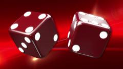 Red Casino Dice Red Background Stock Footage