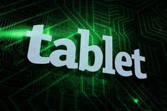 Tablet against green and black circuit board Stock Illustration