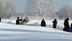 Horseback Russian sleigh in winter, Russia, Novosibirsk Stock Footage