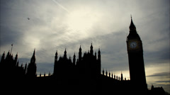 Big Ben and Parliament silhouette at dusk timelapse Stock Footage