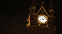Kings Cross Clock at Night Stock Footage