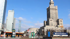 Warsaw. Modern buildings in city center and the Palace of Culture and Science Stock Footage