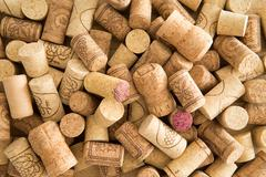 background texture of used wine corks - stock photo