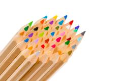 Group of multicolored pencil crayons Stock Photos