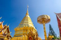 pagoda at wat phra that doi suthep - stock photo