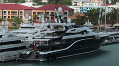 St Thomas USVI wealthy luxury motor yachts port HD 0965 Stock Footage