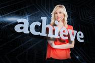 Stock Illustration of Achieve against futuristic black and blue background