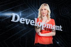 Development against futuristic black and blue background Piirros