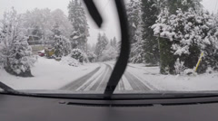 Snowy driving, West Vancouver BC Canada Stock Footage