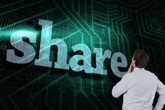 Share against green and black circuit board - stock illustration