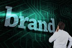 Brand against green and black circuit board - stock illustration