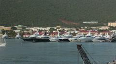 Departing St Thomas marina harbor on ship HD 0990 Stock Footage