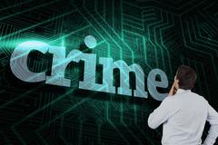 Crime against green and black circuit board - stock illustration