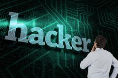 Hacker against green and black circuit board - stock illustration