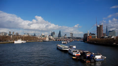 Thames river with city of London skyline Stock Footage