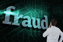 Fraud against green and black circuit board - stock illustration