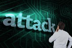 Attack against green and black circuit board - stock illustration