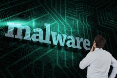 Malware against green and black circuit board - stock illustration