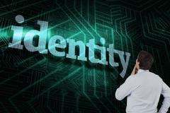 Identity against green and black circuit board - stock illustration