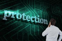 Protection against green and black circuit board - stock illustration