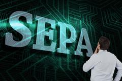 Sepa against green and black circuit board - stock illustration