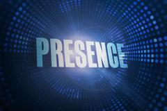 Presence against futuristic dotted blue and black background - stock illustration