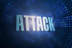 Stock Illustration of Attack against futuristic dotted blue and black background